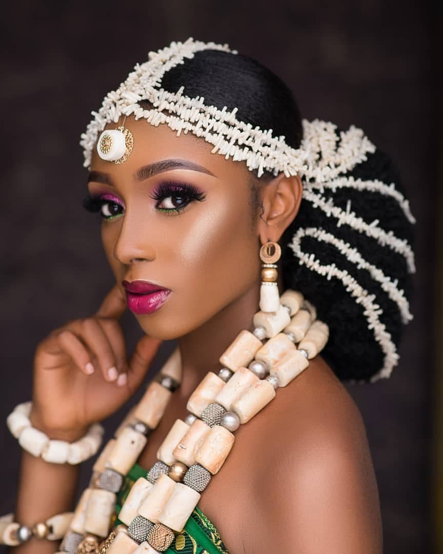 White Coral Beads & a Popping Lippie will be a Unique Igbo Bridal Look    BellaNaija Weddings